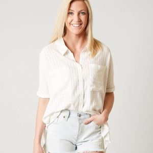 RVCA AFTERWARDS WHITE BUTTON UP SHORT SLEEVE TOP